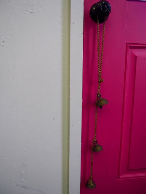 These bells were owned by Trish's grandmother (or great-grandmother?), and sometimes the door opens on its own and the bells ring. Trish always says that's Rita coming to hang out.