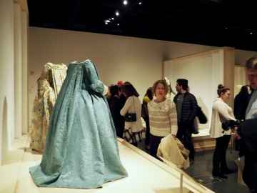 A view of the gallery, including French dresses from the 1700s